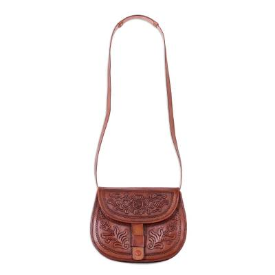 Handcrafted Adjustable Leather Sling Handbag from Peru