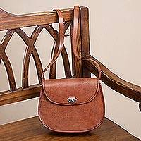 Leather sling, 'Colonial Fashion' - Solid Brown Leather Sling Handbag from Peru