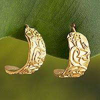 Gold plated sterling silver half-hoop earrings, 'Sidereal Beauty' - Gold Plated Sterling Silver Half-Hoop Earrings from Peru