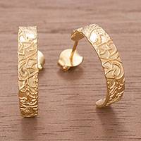 Gold plated sterling silver half-hoop earrings, 'Golden Fantasy'
