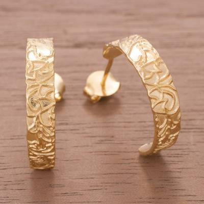 c70762be38863 18k Gold Plated Sterling Silver Half-Hoop Earrings from Peru, 'Golden  Fantasy'