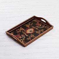 Reverse painted glass tray, 'Nightfall Flowers' - Floral Reverse Painted Glass Tray from Peru