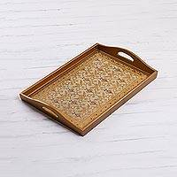 Reverse painted glass tray, 'Golden Flowers' - Gold-Tone Floral Reverse Painted Glass Tray from Peru