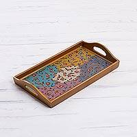 Reverse painted glass tray, 'Margarita Joy' - Multicolored Reverse Painted Glass Tray from Peru