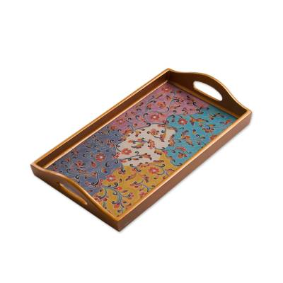 Multicolored Reverse Painted Glass Tray from Peru