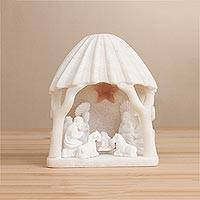 Huamanga stone nativity sculpture, 'Beautiful Nativity' - White Huamanga Stone Hand Carved Nativity Sculpture