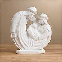 Huamanga stone nativity sculpture, 'Adore' - White Huamanga Stone Hand Carved Nativity Family Sculpture