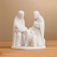 Huamanga stone nativity sculpture, 'Family of Grace' - Huamanga Stone Hand Carved Nativity with Lamb Sculpture