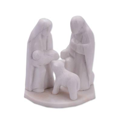 Huamanga Stone Hand Carved Nativity with Lamb Sculpture