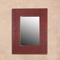 Leather wall mirror, 'Colonial Memories' - Handcrafted Leather Wall Mirror from Peru