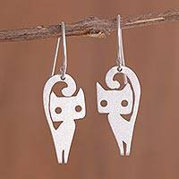 Sterling silver dangle earrings, 'Baby Cats' - Cat-Themed Sterling Silver Dangle Earrings from Peru