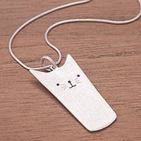 Sterling silver pendant necklace, 'Funny Kitty' - Sterling Silver Cat Pendant Necklace from Peru
