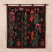 Wool tapestry, 'Dark Forest' - Handwoven Nature-Themed Wool Tapestry from Peru