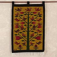 Wool tapestry, 'Birds in the Andes' - Handwoven Tree-Themed Wool Tapestry from Peru