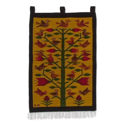 Handwoven Tree-Themed Wool Tapestry from Peru
