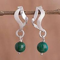 Chrysocolla dangle earrings, 'Summer Wind' - Wavy Chrysocolla Dangle Earrings from Peru