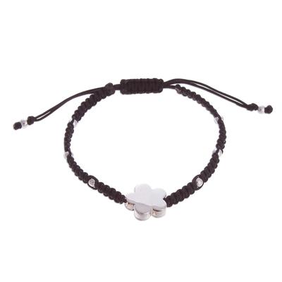 Adjustable Floral Sterling Silver Pendant Bracelet from Peru