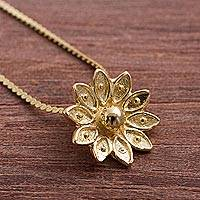 Gold plated sterling silver pendant necklace, 'Gleaming Lotus' - Gold Plated Sterling Silver Lotus Necklace from Peru