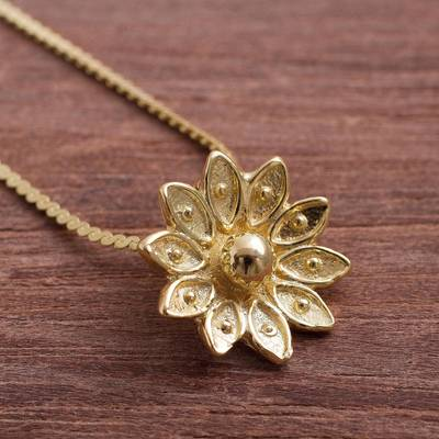 Gold Plated Sterling Silver Lotus Necklace From Peru Gleaming