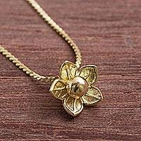 Gold plated sterling silver pendant necklace, 'Glistening Petals' - Gold Palted Sterling Silver Flower Necklace from Peru
