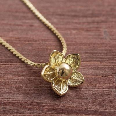 Gold plated sterling silver pendant necklace, Glistening Petals