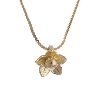 Gold plated sterling silver pendant necklace, 'Glistening Petals' - Gold Plated Sterling Silver Flower Necklace from Peru