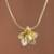 Gold plated sterling silver pendant necklace, 'Glistening Petals' - Gold Plated Sterling Silver Flower Necklace from Peru (image 2b) thumbail