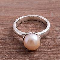 Cultured pearl cocktail ring, 'Pink Nascent Flower' - Cultured Pearl Cocktail Ring in Pink from Peru