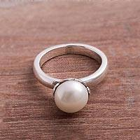 Cultured pearl cocktail ring, 'White Nascent Flower' - Cultured Pearl Cocktail Ring in White from Peru
