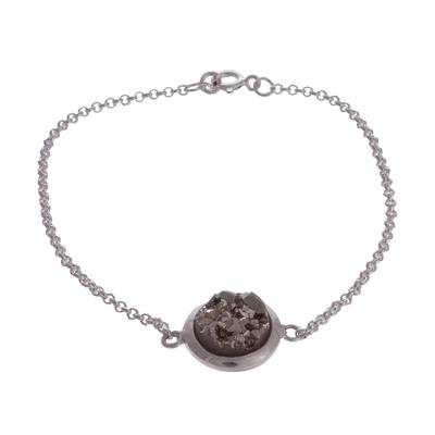 Circular Pyrite Pendant Bracelet from Peru
