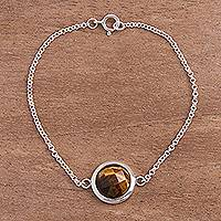 Tiger's eye pendant bracelet, 'Circular Treasure' - Fair Trade Circular Tiger's Eye Pendant Bracelet from Peru