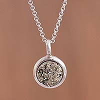 Pyrite pendant necklace, 'Circular Treasure' - Circular Pyrite Pendant Necklace from Peru