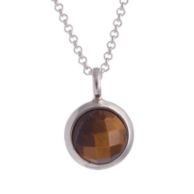 Tiger's eye pendant necklace, 'Circular Treasure' - Circular Tiger's Eye Pendant Necklace from Peru