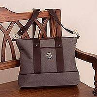Leather accent cotton shoulder bag, 'Downtown Day in Brown' - Brown Cotton Padded Handbag with Detachable Shoulder Strap