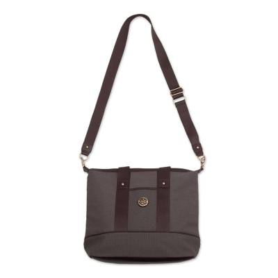 Brown Cotton Padded Handbag with Detachable Shoulder Strap