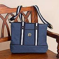 Leather accent cotton shoulder bag, 'Downtown Day in Blue' - Blue Cotton Padded Handbag with Detachable Shoulder Strap