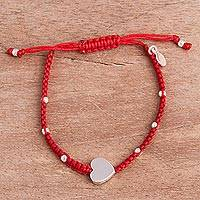 Sterling silver pendant bracelet, 'Love Ties' - Sterling Silver Heart Pendant Red Cotton Cord Bracelet