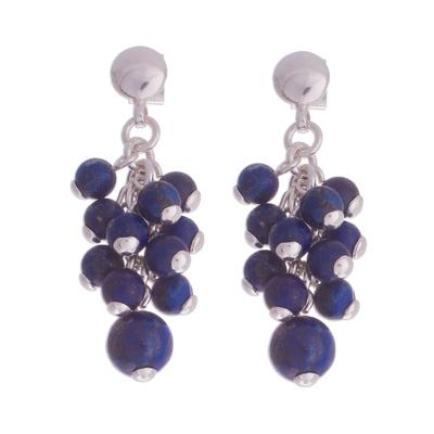 Lapis Lazuli Bead Cluster Sterling Silver Dangle Earrings