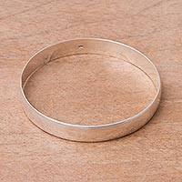 Sterling silver bangle bracelet, 'Sleek Sophistication' - Handcrafted Sterling Silver Polished Band Bangle Bracelet