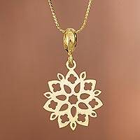 Gold plated sterling silver pendant necklace, 'Snowflake Flower' - Floral Gold Plated Sterling Silver Pendant Necklace