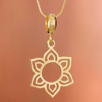Gold plated sterling silver pendant necklace, 'Floral Corona' - Flower-Shaped Gold Plated Sterling Silver Pendant Necklace