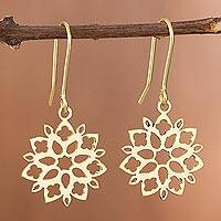 Gold plated sterling silver dangle earrings, 'Snowflake Flowers' - Floral Gold Plated Sterling Silver Dangle Earrings from Peru