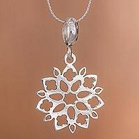 Sterling silver pendant necklace, 'Snowflake Flower' - Floral Sterling Silver Pendant Necklace from Peru