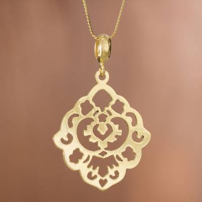 Gold plated sterling silver pendant necklace, 'Floral Rhombus' - Gold Plated Sterling Silver Openwork Pendant Necklace