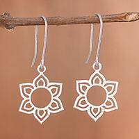 Sterling silver dangle earrings, 'Floral Corona' - Flower-Shaped Sterling Silver Dangle Earrings from Peru
