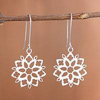 Sterling silver dangle earrings, 'Snowflake Flowers' - Floral Sterling Silver Dangle Earrings from Peru
