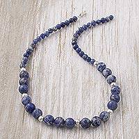 Sodalite beaded necklace, 'Falling Water' - Handcrafted Sodalite and Sterling Silver Bead Necklace