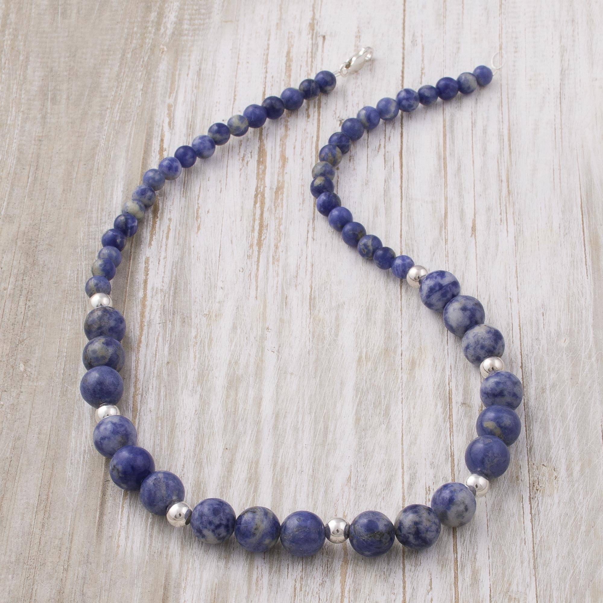 c40e295f6d62d Handcrafted Sodalite and Sterling Silver Bead Necklace, 'Falling Water'
