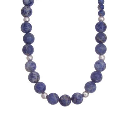 Handcrafted Sodalite and Sterling Silver Bead Necklace