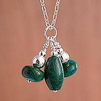 Chrysocolla pendant necklace, 'Triple Charm in Green' - Chrysocolla and Sterling Silver Bead Pendant Necklace